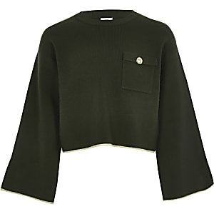 Girls khaki utility cropped jumper