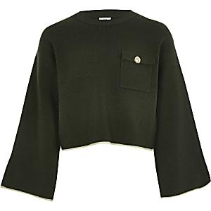 Kaki cropped utility-pullover voor meisjes