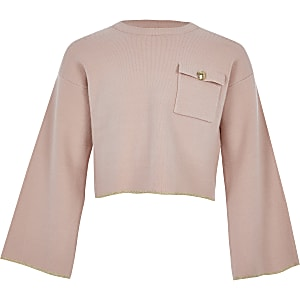Pull en maille court fonctionnel rose pour fille