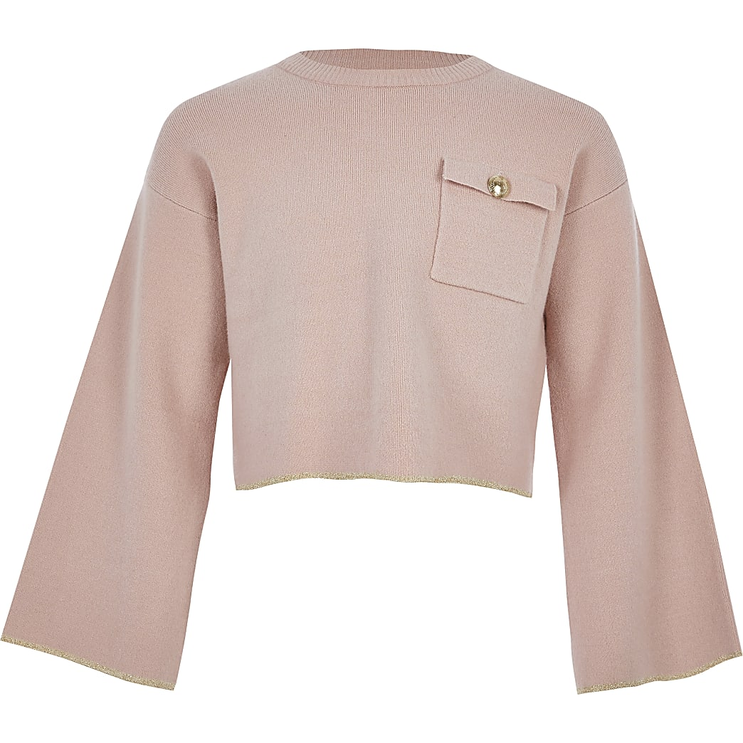 Girls pink utility knit crop jumper