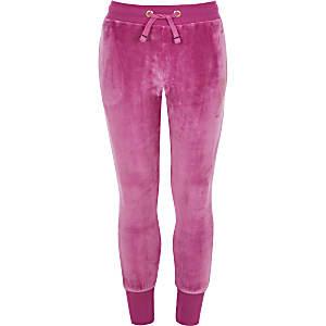 Juicy Couture – Pantalon de jogging en velours rose pour fille