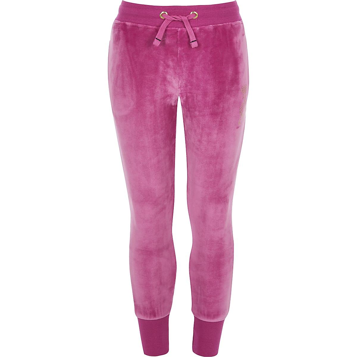 Juicy Couture - Roze velours joggingbroek voor meisjes