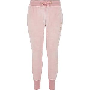 Juicy Couture – Pantalon de jogging en velours rose clair pour fille