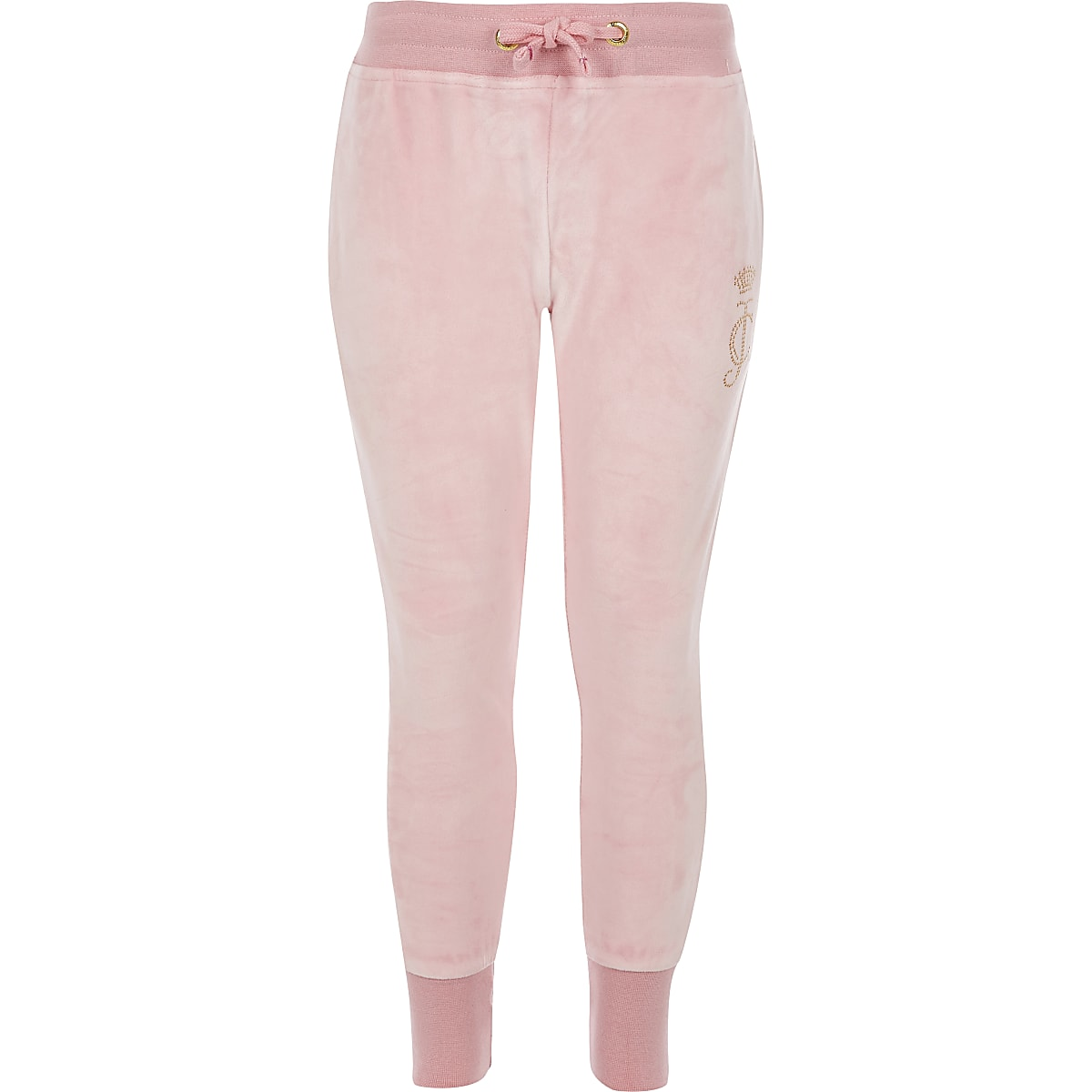 Girls Juicy Couture light pink velour joggers
