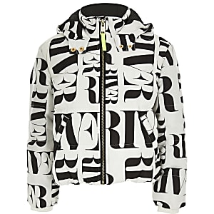 Girls white RI printed padded jacket