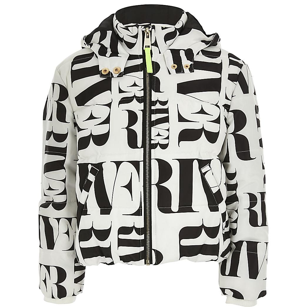 Girls white RI printed padded jacket