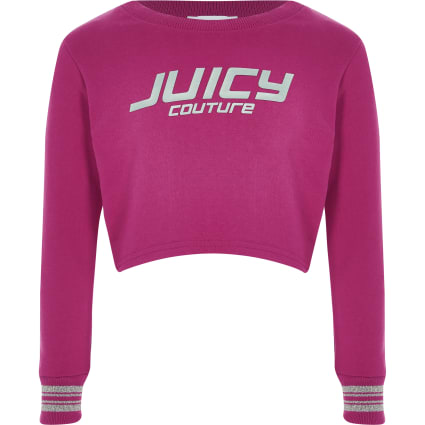 Girls pink Juicy Couture crop sweatshirt