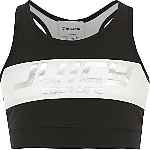 Juicy Couture – Schwarzes Crop Top mit Print für Mädchen
