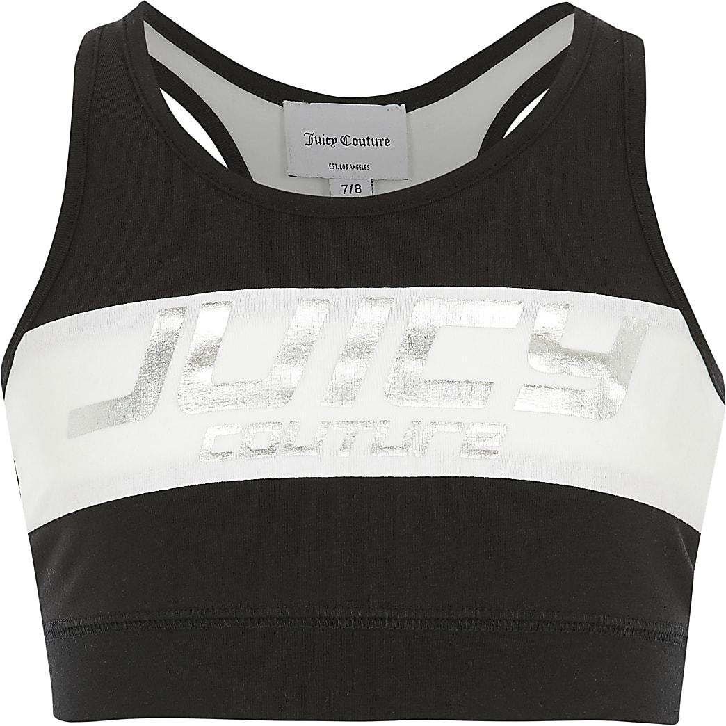 Girls Juicy Couture black printed crop top