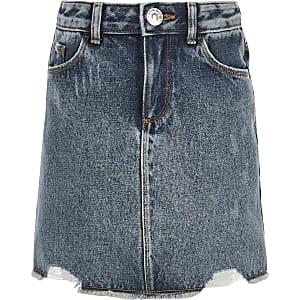 Blauwe ripped denim rok voor meisjes