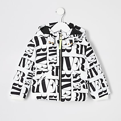 Mini girls white RI printed padded jacket