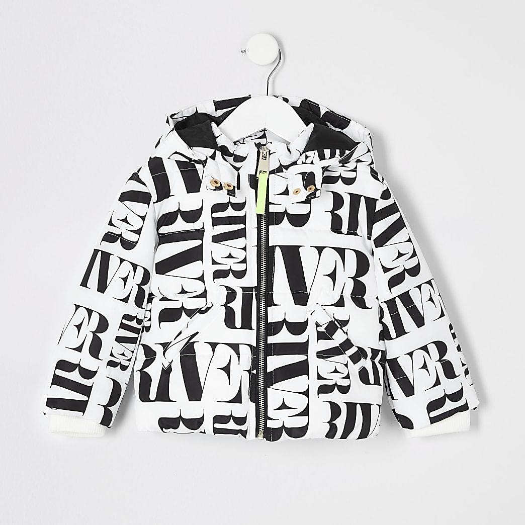 Mini girls white RI printed padded jacket