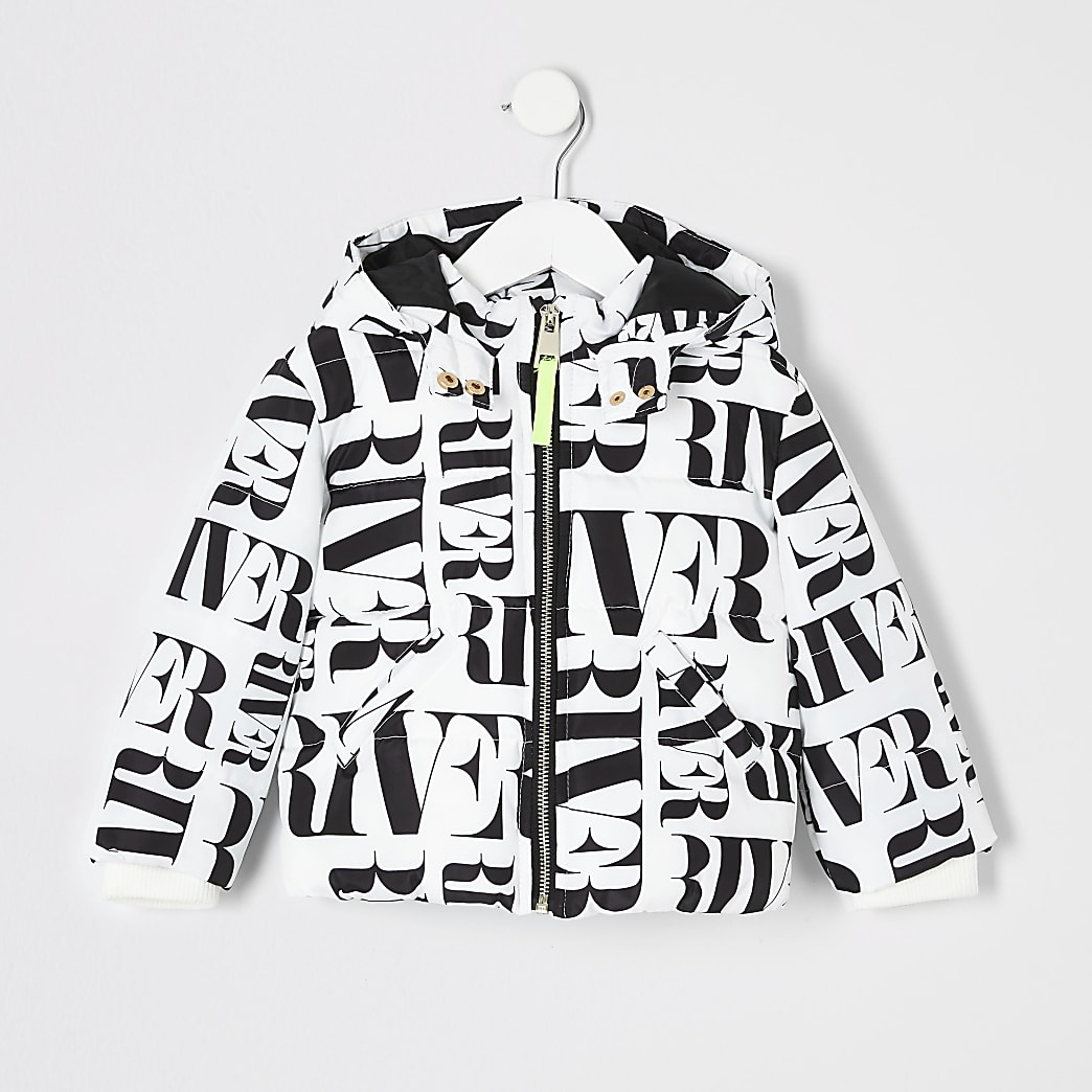 Mini - Witte gewatteerde jas met RI-print voor meisjes