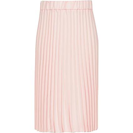 Girls pink pleated midi skirt