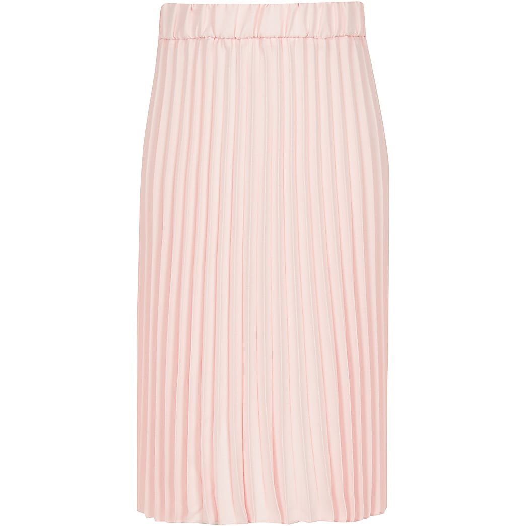 Girls pink pleated midi skirt