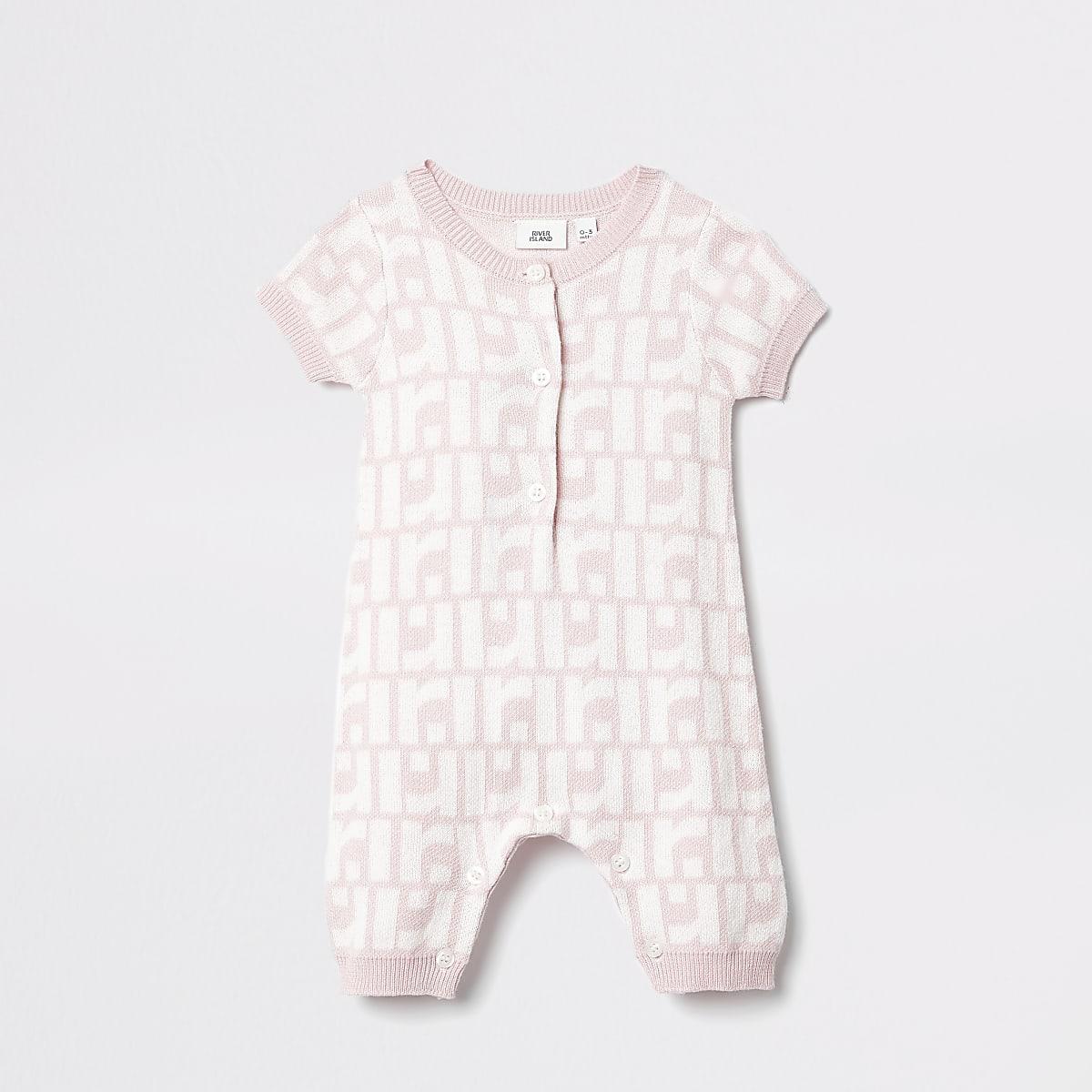 Baby pink RI monogram romper