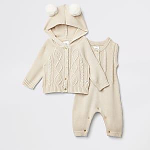 Ensemble avec cardigan en maille beige clair pour bébé