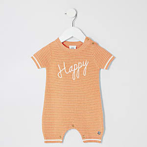 Baby orange 'Happy' knitted romper