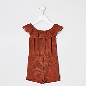 Mini girls rust stripe bardot playsuit