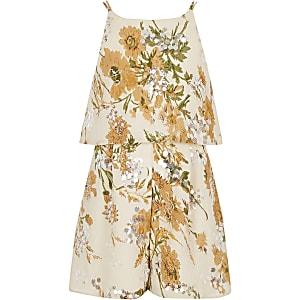 Combi-short crème à fleurs et sequins pour fille