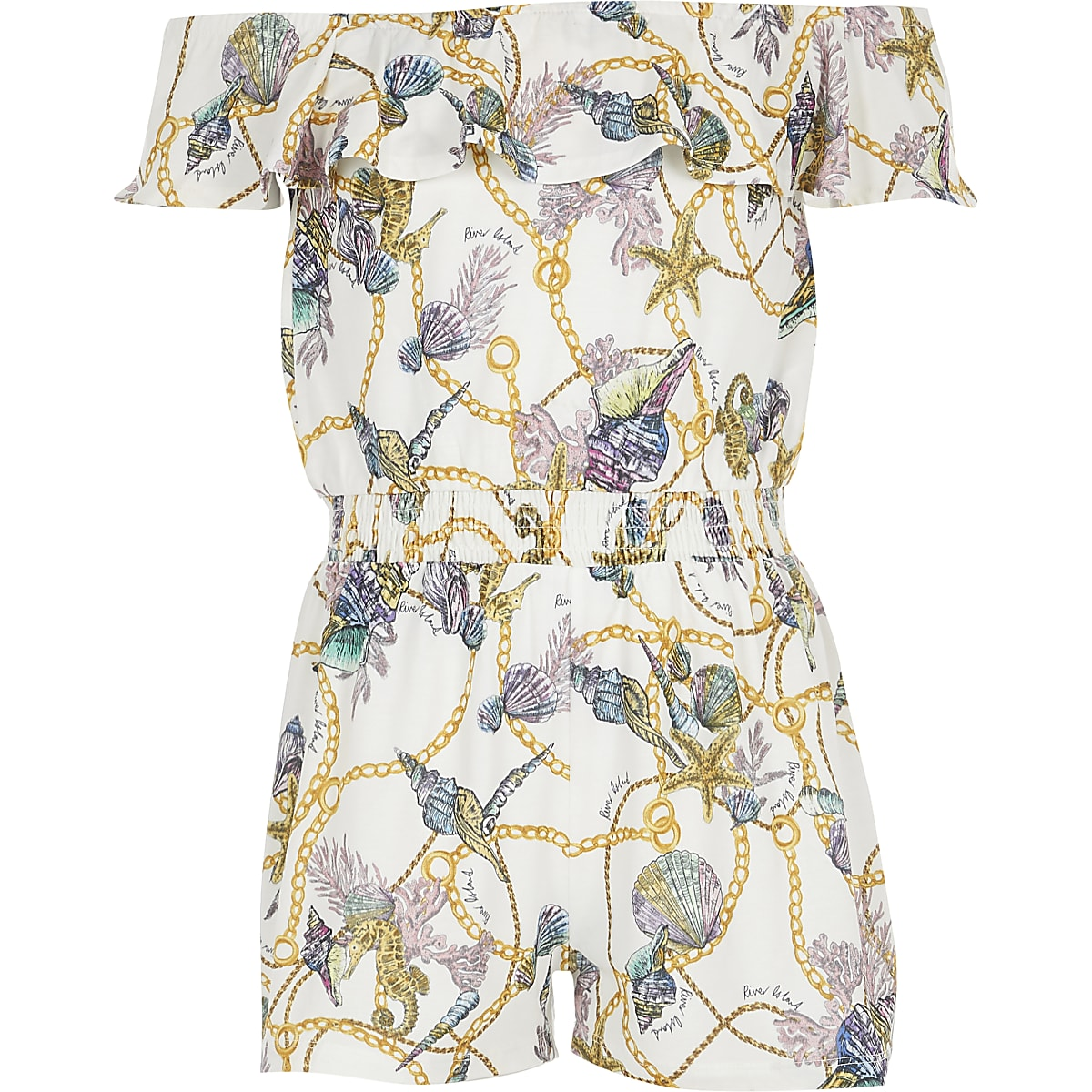 Girls white shell print bardot playsuit
