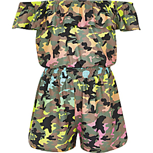 Girls green camo bardot playsuit
