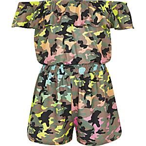 Groene playsuit in bardotstijl met camouflageprint voor meisjes