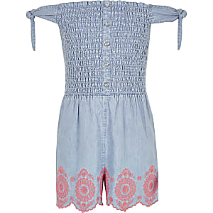 Girls blue shirred denim playsuit