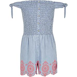 Combi-short en denim bleu plissé pour fille