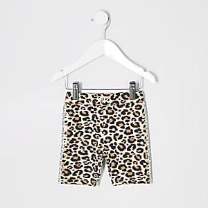 Braune Rad-Shorts mit Leoparden-Print