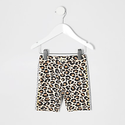 Mini girls brown leopard print cycle shorts