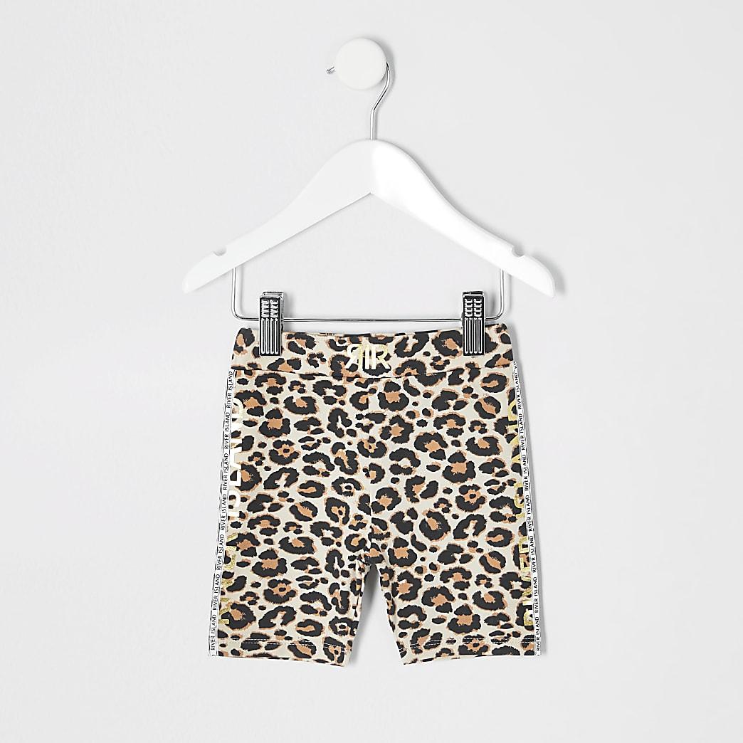 Mini girls brown leopard print cycle shorts