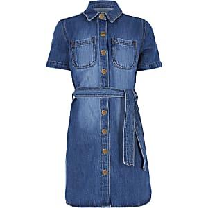 Robe chemisier en jean bleu pour fille