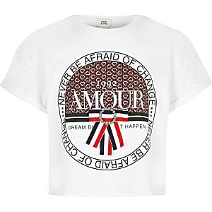 Wit T-shirt met 'Amour'-print, strik en hart voor meisjes