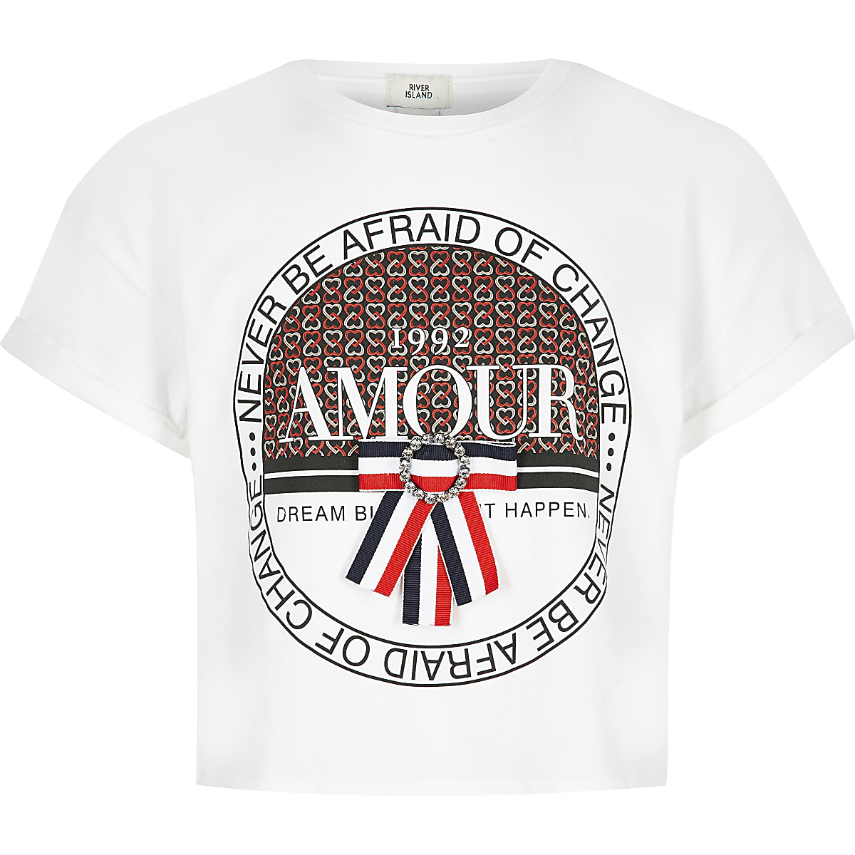 Girls white 'Amour' bow heart T-shirt