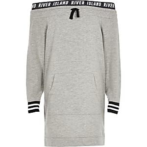 Girls grey bardot jumper dress