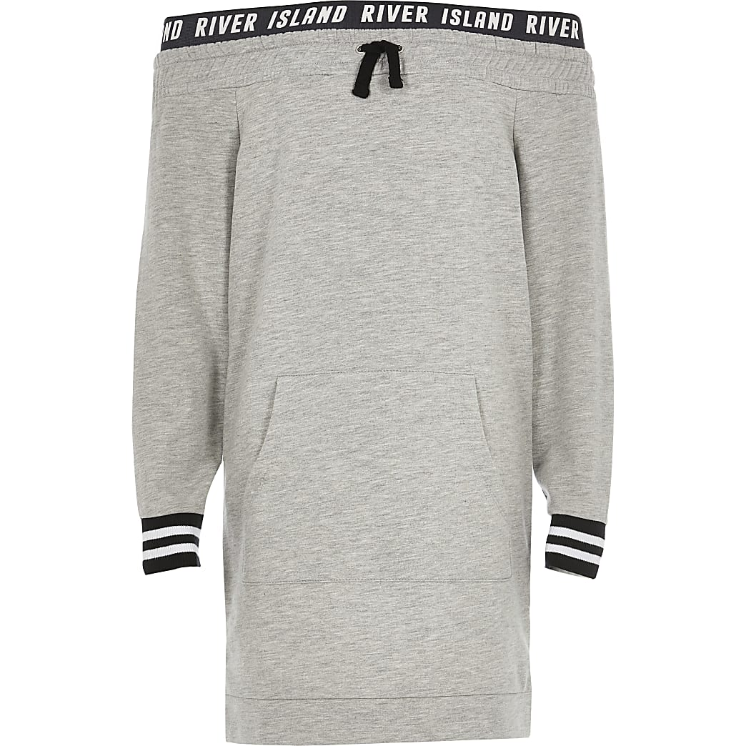 Girls grey bardot sweatshirt dress