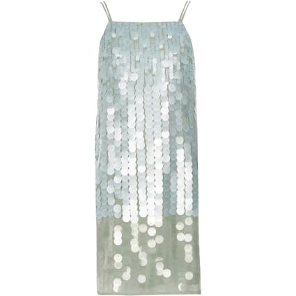 Girls light green sequin cami dress