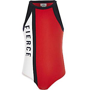 Girls red halterneck bodysuit