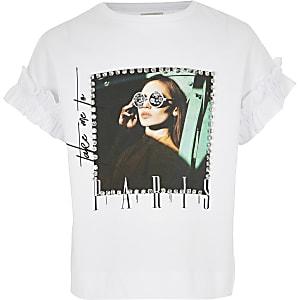 Girls white rhinestone printed T-shirt