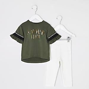Mini - Outfit met kaki T-shirt met print en ruches voor meisjes