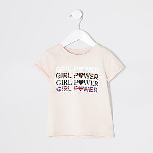 T-shirt «Girls power» rose mini fille