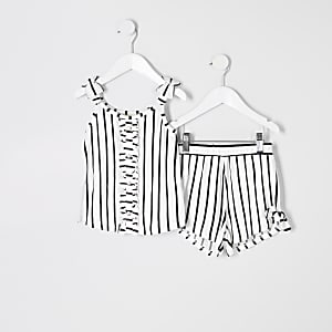 Mini girls white stripe cami outfit