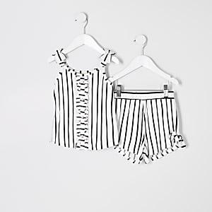 Mini - Wit gestreepte outfit met cami voor meisjes