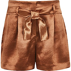 Girls rust satin shorts