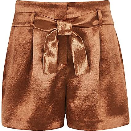 Girls rust satin shorts