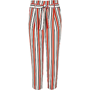 Girls orange stripe tie waist trousers