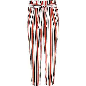 Girls orange stripe tie waist pants