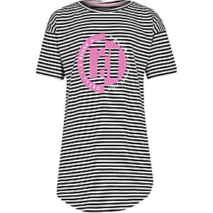 Zwarte gestreepte nachtjapon met RI-print voor meisjes