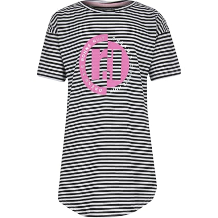 Girls black stripe RI night dress